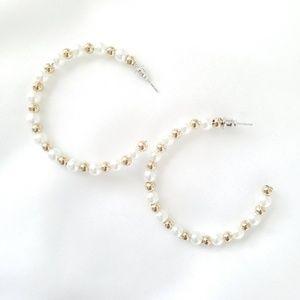 Pearl and gold hoop earrings